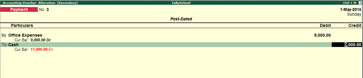 Converted Post Dated Voucher in Tally