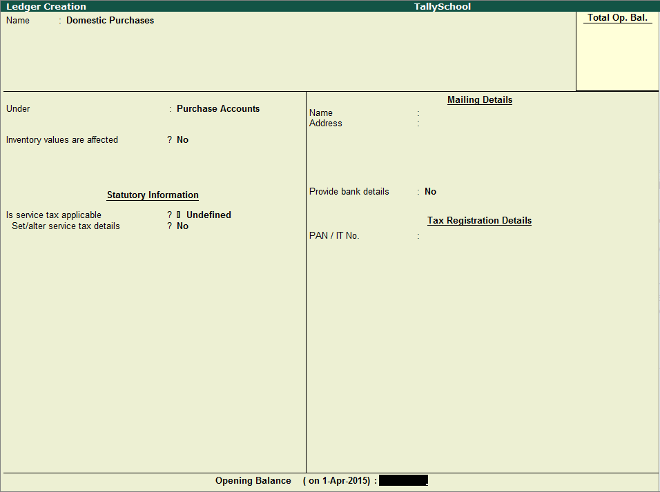 Creating Purchase Ledger in Tally
