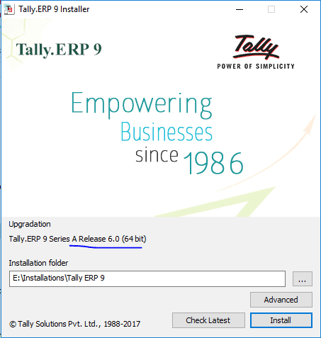 Tally.ERP 9 Version 6.0 Installation