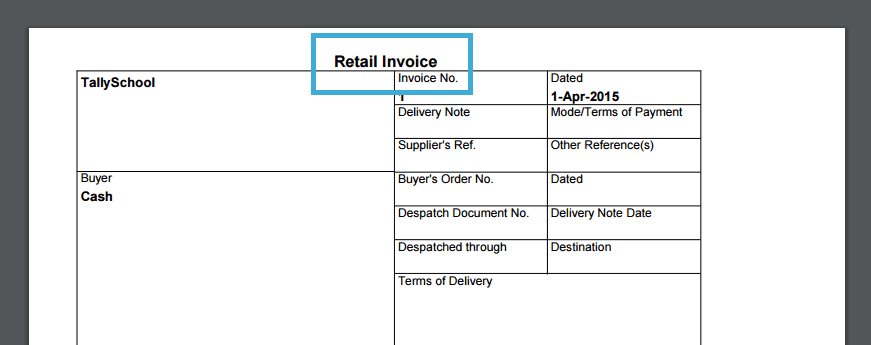 Retail Invoice In Tally  How To Generate An Invoice