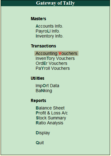 Basic Accounting Entries in Tally ERP 9