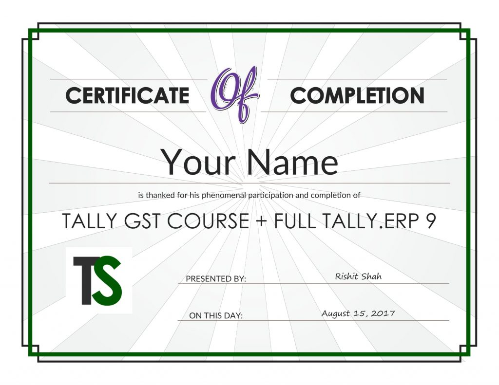 Tally GST Course Certificate