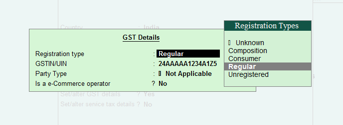 GST Details in Sundry Debtors Ledger in Tally