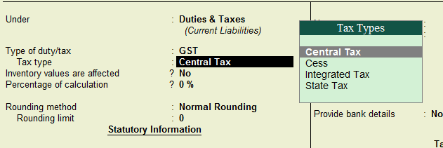 Tax Type while creating GST Ledger in Tally