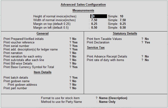 Advanced Sales Configuration for GST Invoice in Tally.ERP 9
