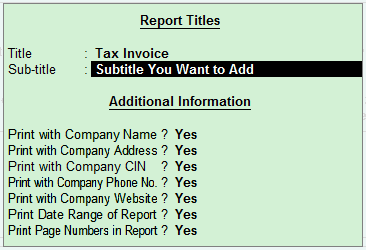 GST Invoice Titling in Tally.ERP 9