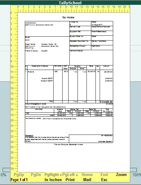 GST Sales Invoice Print Preview in Tally.ERP 9