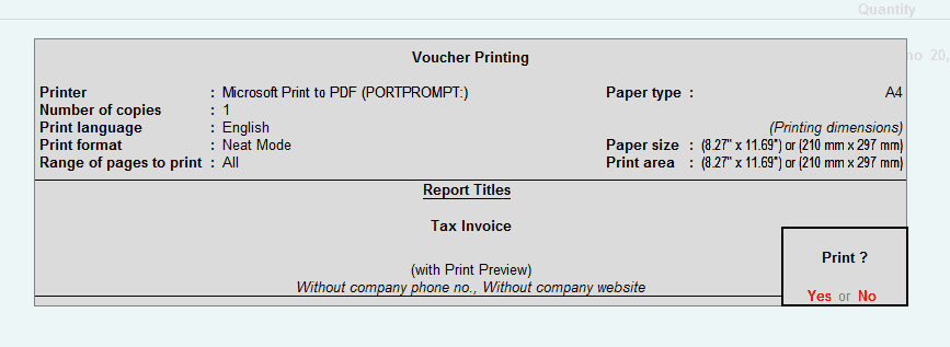 Printing GST Sales Invoice in Tally.ERP 9
