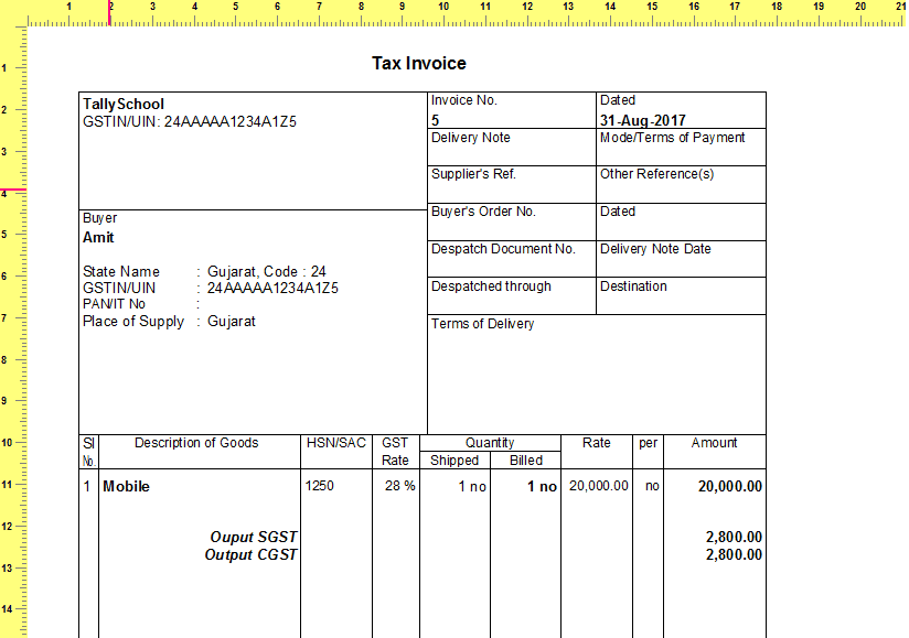 Zoomed in Print Preview of GST Sales Invoice in Tally.ERP 9