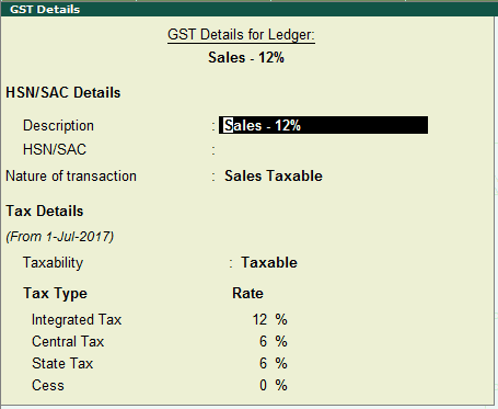 GST Details for Sales Ledger in Tally