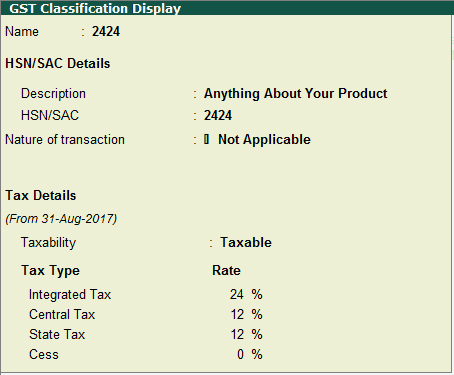 GST Classification Creation in Tally - HSN