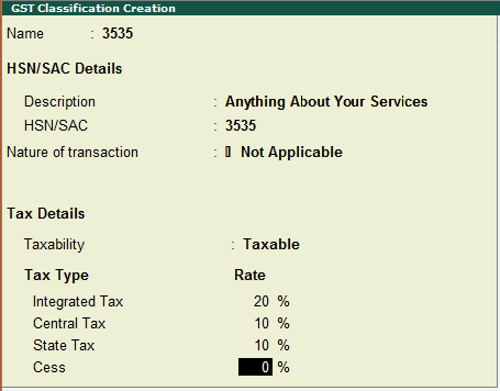 GST Classification Creation in Tally - SAC