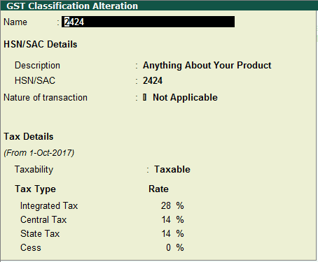 GST Classification Screen in Tally - HSN-2424