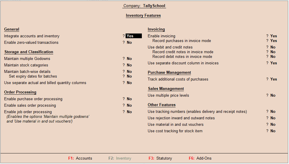 Inventory Features or Inventory Management in Tally