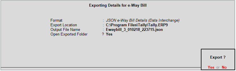 Exporting Details for E-Way Bill in Tally in JSON Format