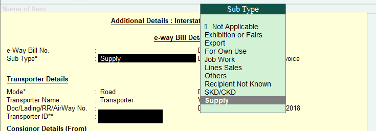 Sub Type - GST E-Way Bill in Tally
