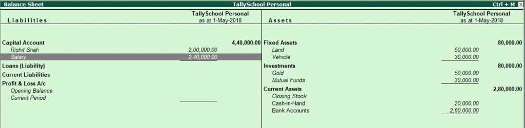 Balance Sheet after Salary Entry in Tally