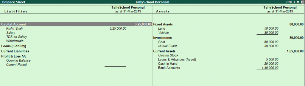 Balance Sheet after passing Closing Entries in Tally