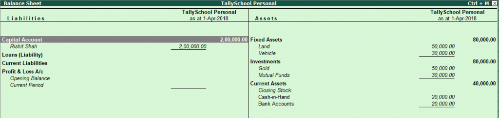 Balance Sheet after personal entries in Tally