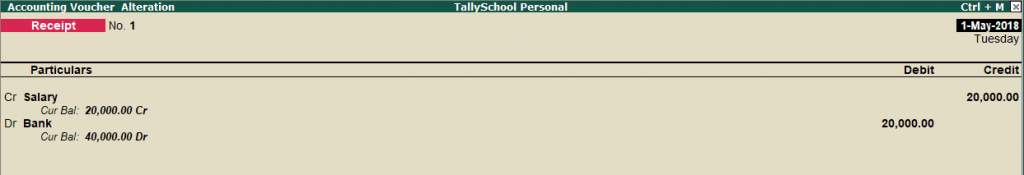 Salary Receipt Entry in Tally
