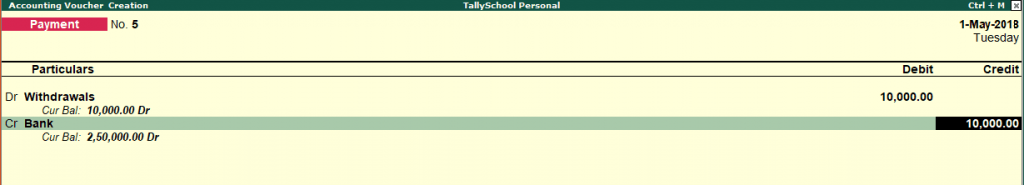 Withdrawal entry in Tally