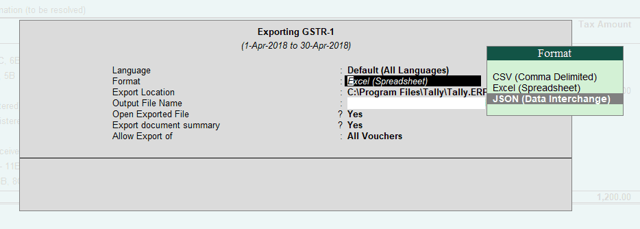 Exporting GSTR 1 from Tally ERP 9