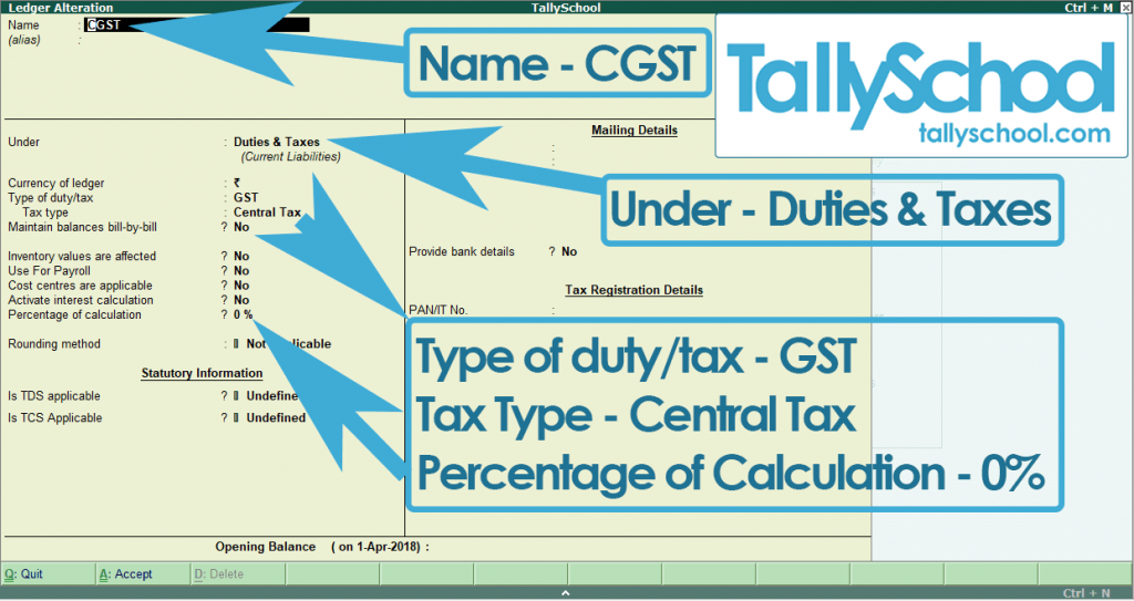 Creating CGST Ledger in Tally