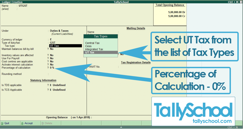 Creating a UTGST Ledger in Tally