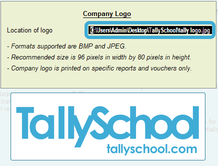Entering path of location of tally logo