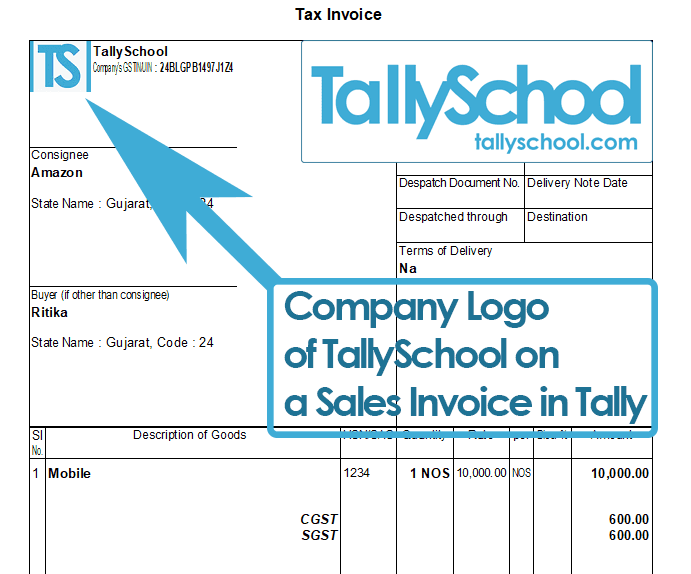 Sales Invoice in Tally with Company Logo
