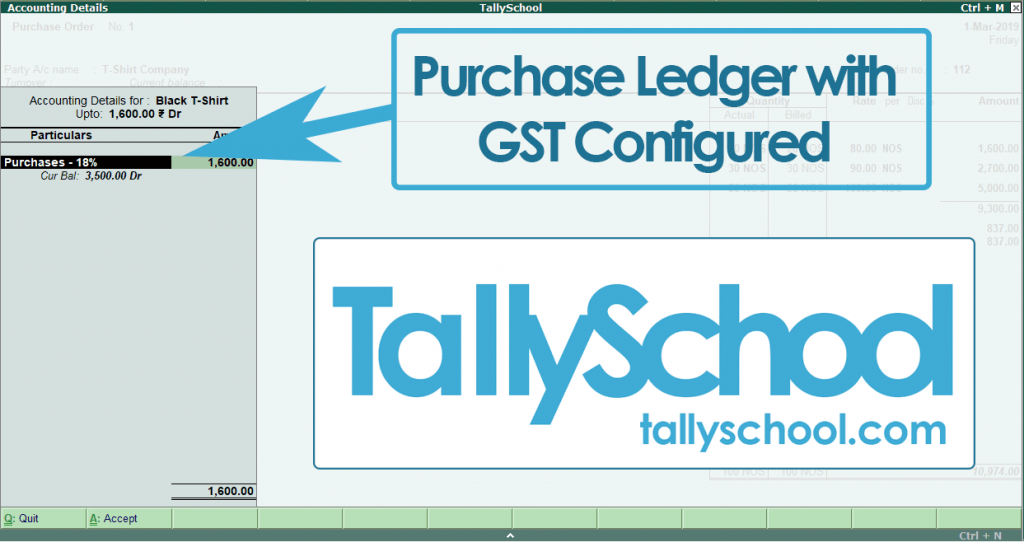 Accounting Details in Tally ERP 9