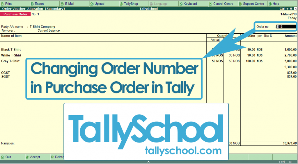 Changing Order Number in Purchase Order in Tally ERP 9