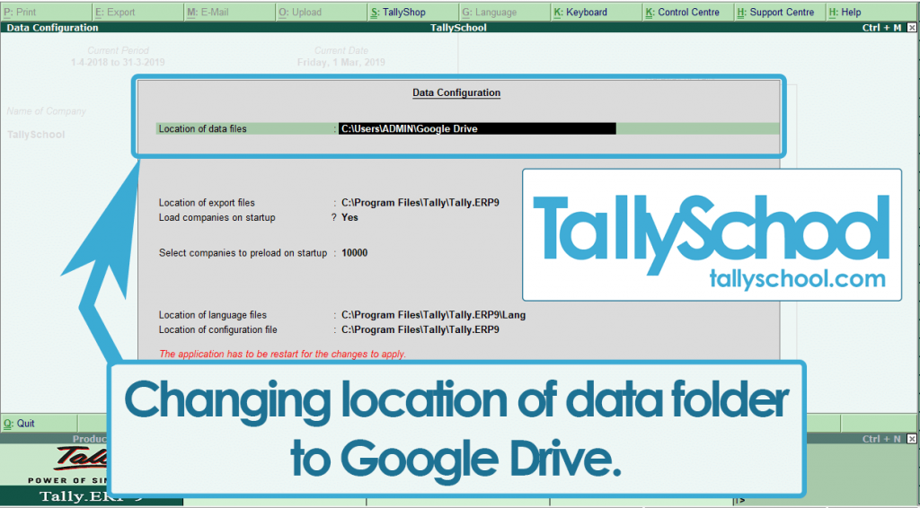 Changing the path of Data folder to Google Drive in Tally ERP 9