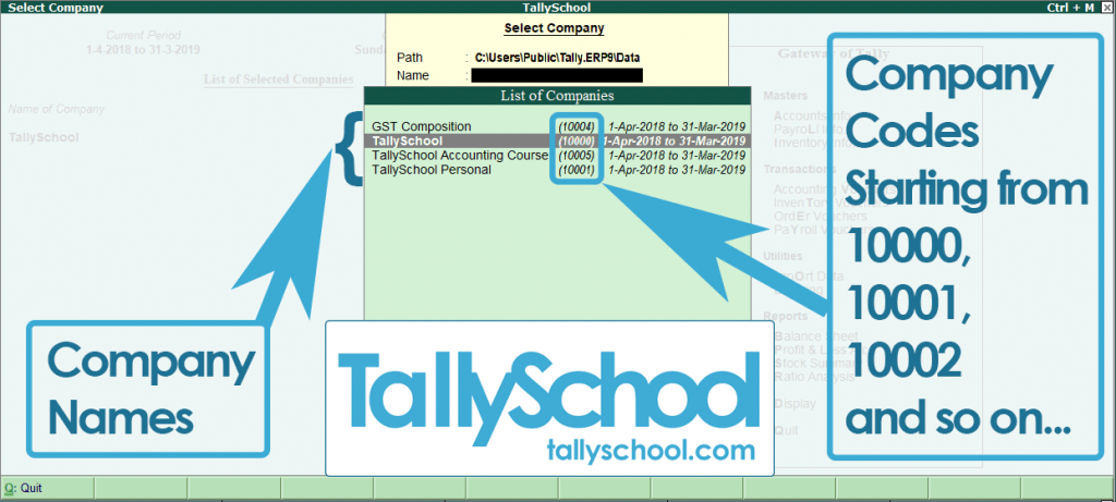 Company Numbers and Folder in Tally ERP 9