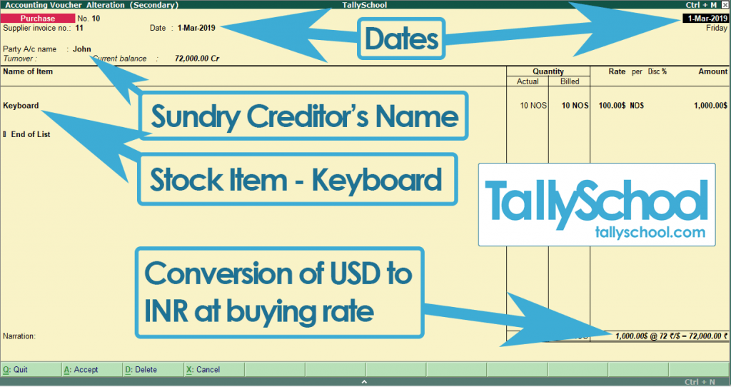 Create a Foreign Currency Purchase Entry in Tally ERP 9