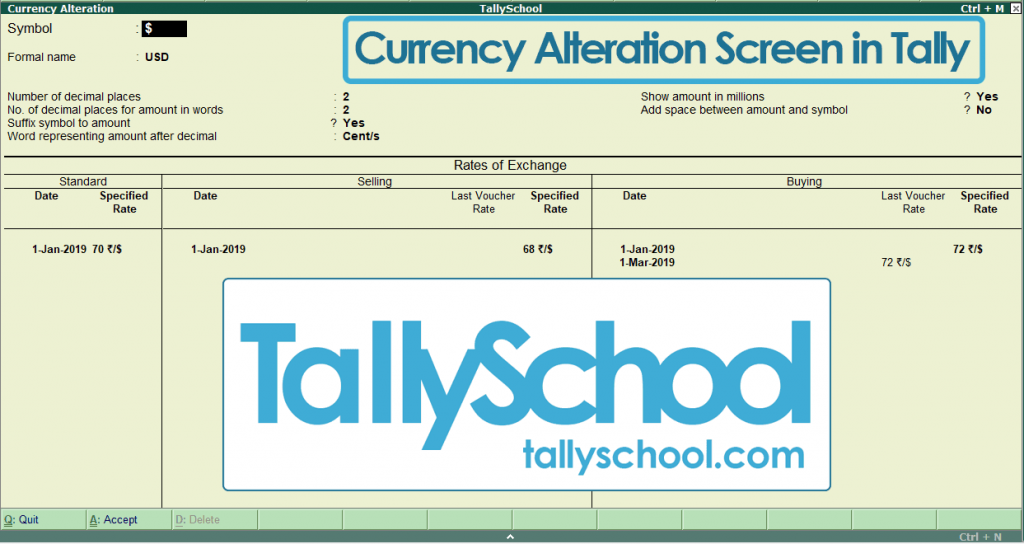 Currency Alteration in Tally ERP 9