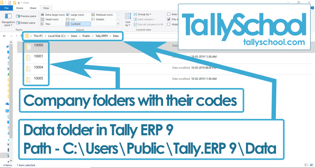 Data folder in Tally ERP 9