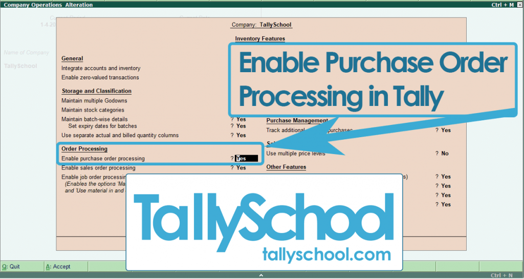 Enabling Order Processing in Tally