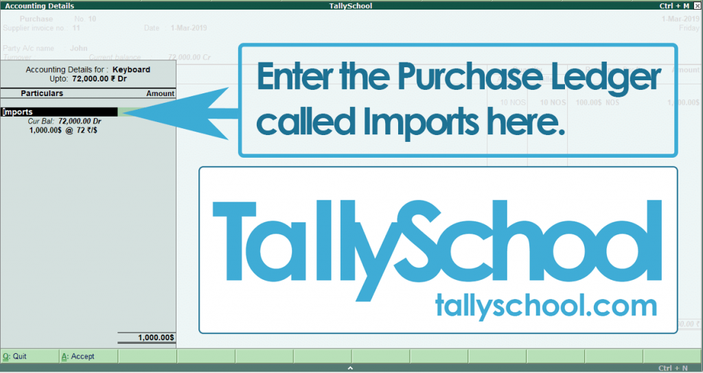 Entering Purchase Ledger in Tally in Forex Transaction
