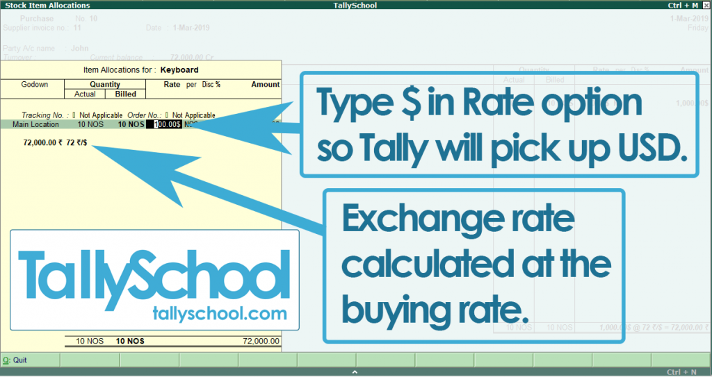 Entering USD - $ currency in purchase entry in tally