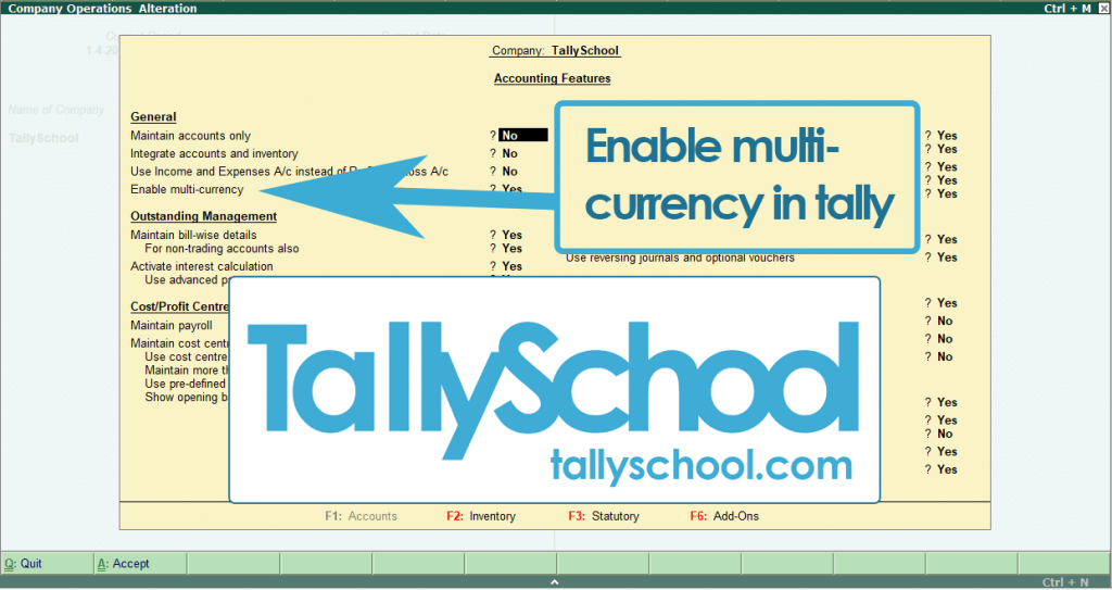 How to enable multi currency in Tally ERP 9