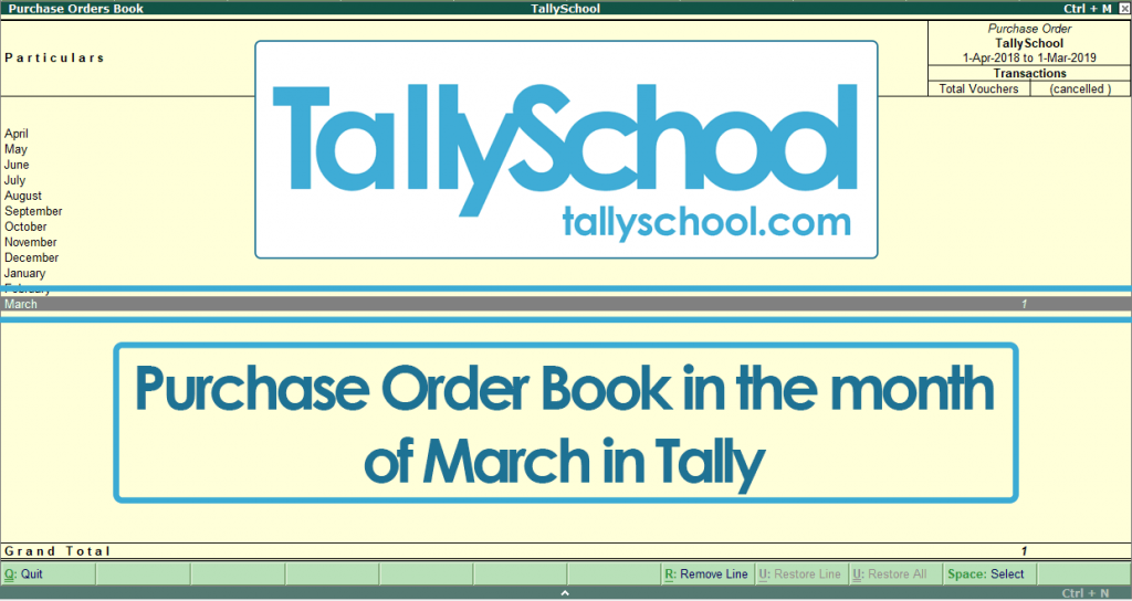 Order Book in Tally ERP 9