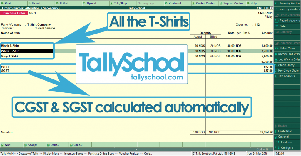 Purchase Order in Tally ERP 9