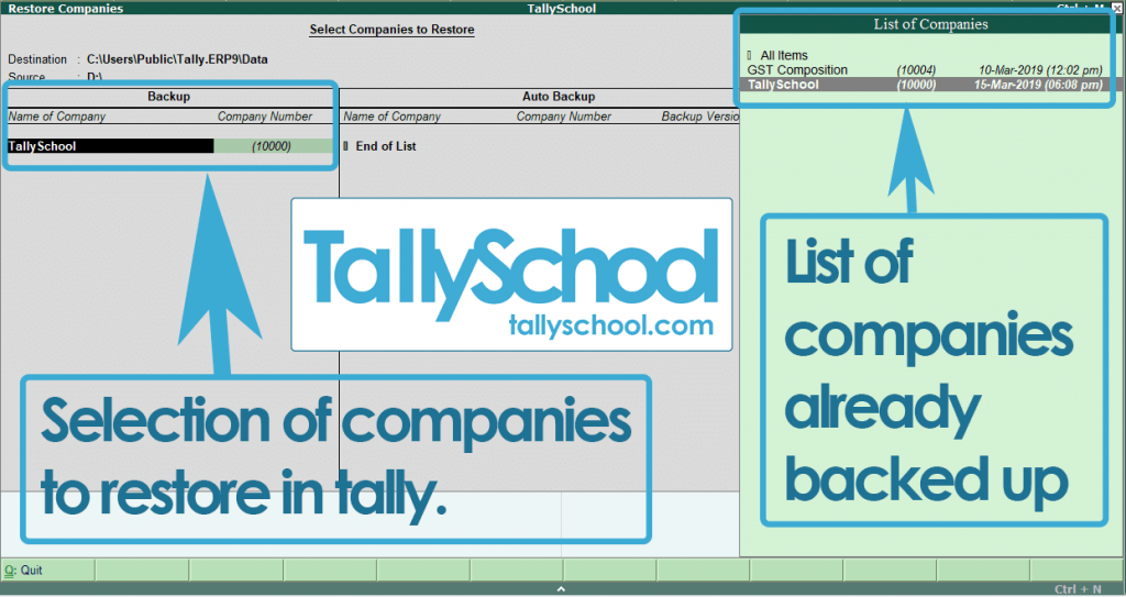 Restoration of companies in Tally ERP 9