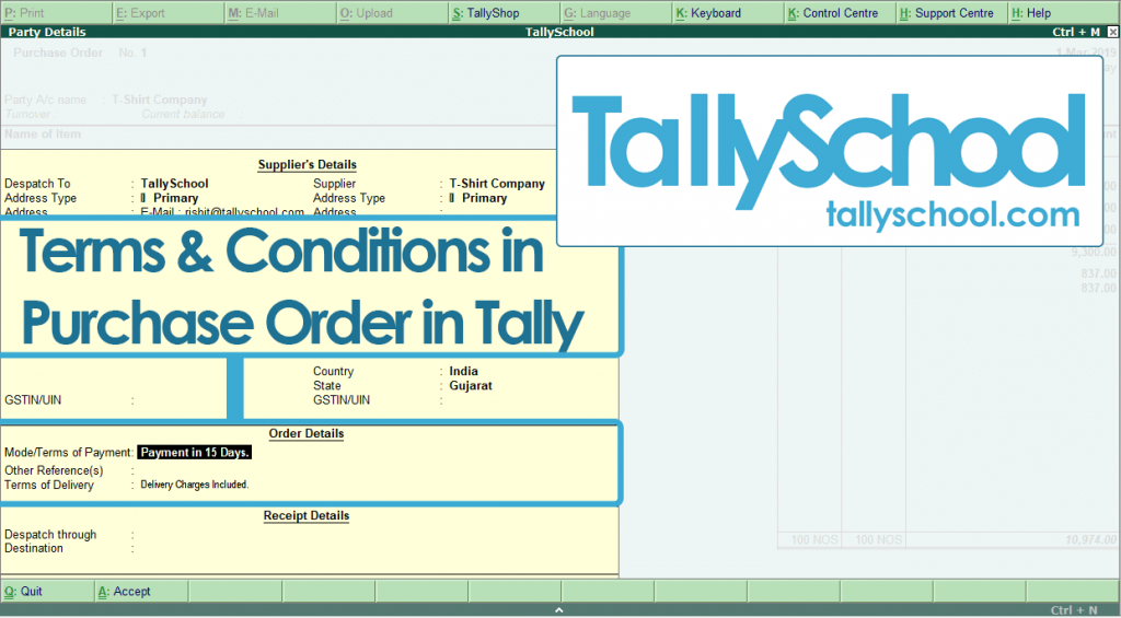 Terms and Conditions in Purchase Order in Tally ERP 9