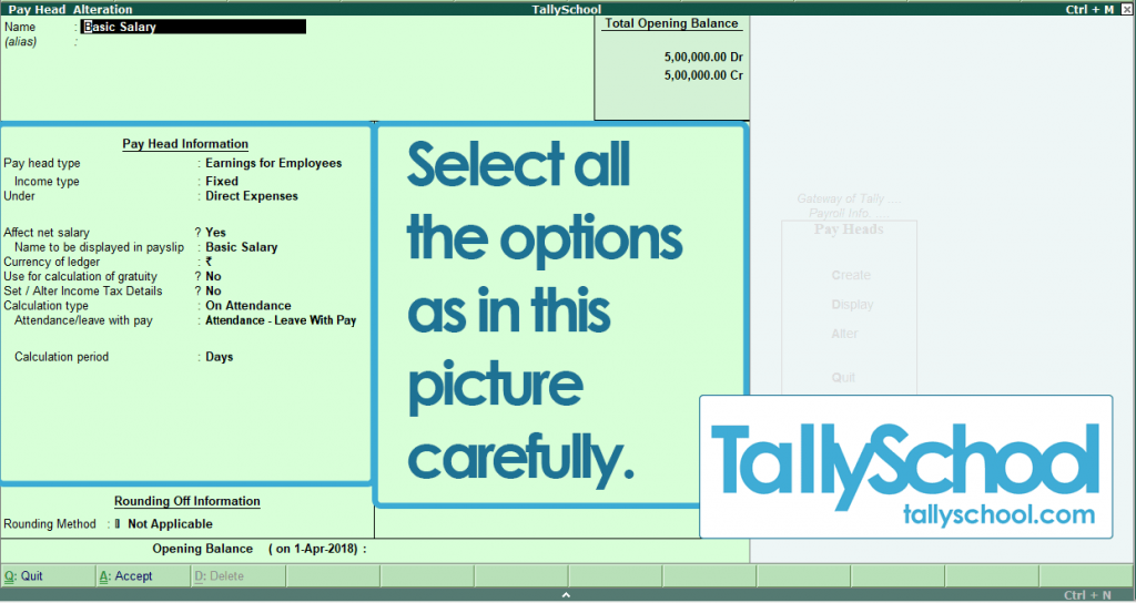 Basic Salary Pay Head in Tally ERP 9