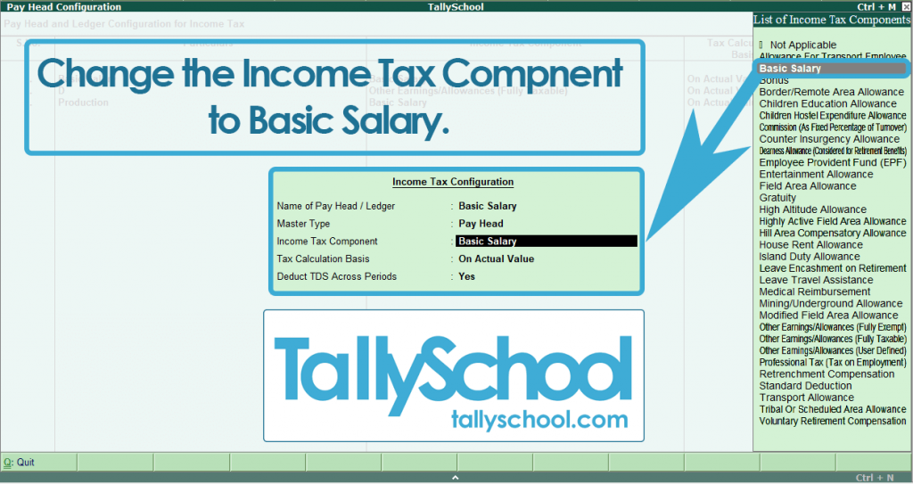 Changing Pay Head Configuration for Payroll in Tally ERP 9