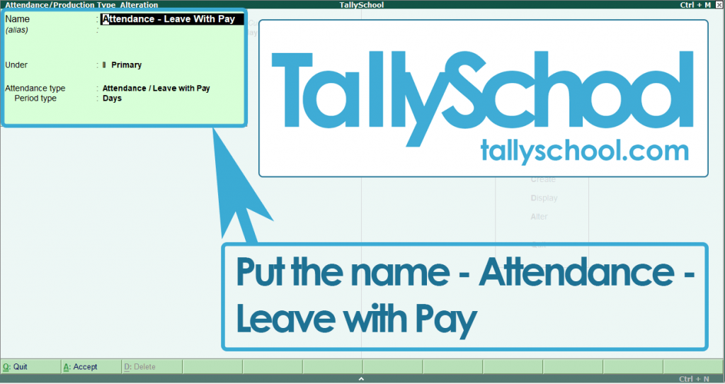 Creating Attendance Type for Payroll in Tally ERP 9