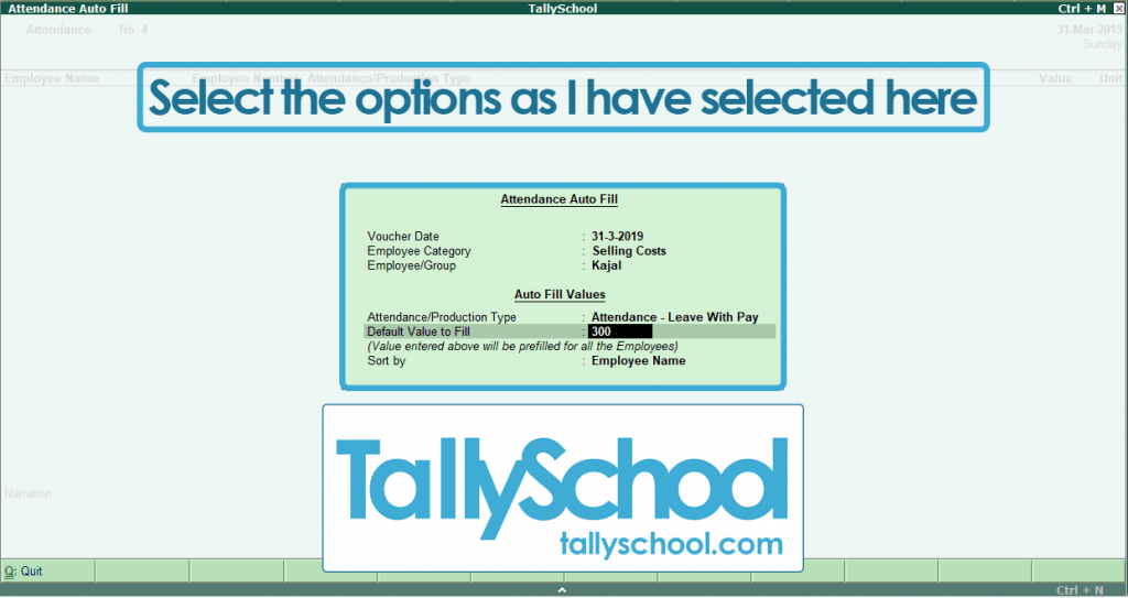 Creating Attendance Voucher in Tally ERP 9