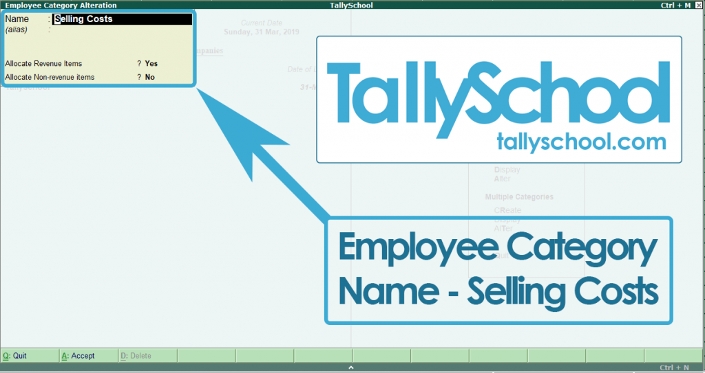 Creating Employee Category in Tally ERP 9